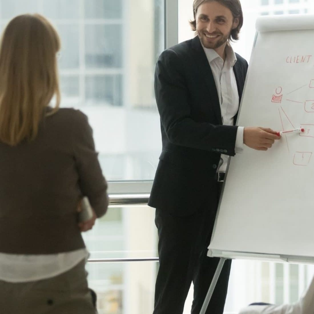 Man at whiteboard with clients